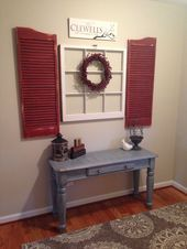 Photo of Shabby chic fireplace with red shutters and old window. #with #Chic # window …