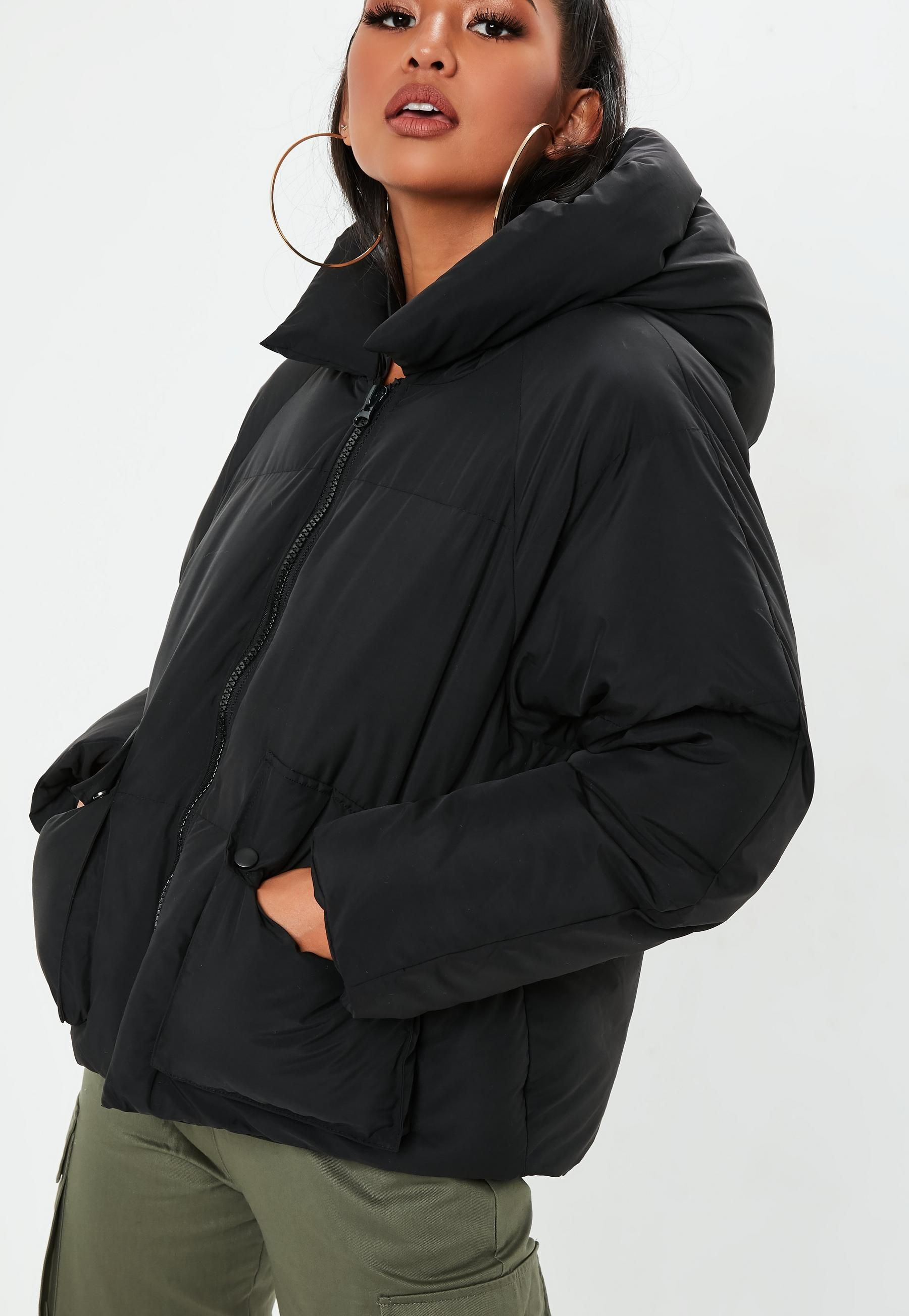 e428aafa47af Missguided Black Hooded Ultimate Puffer Jacket in 2019