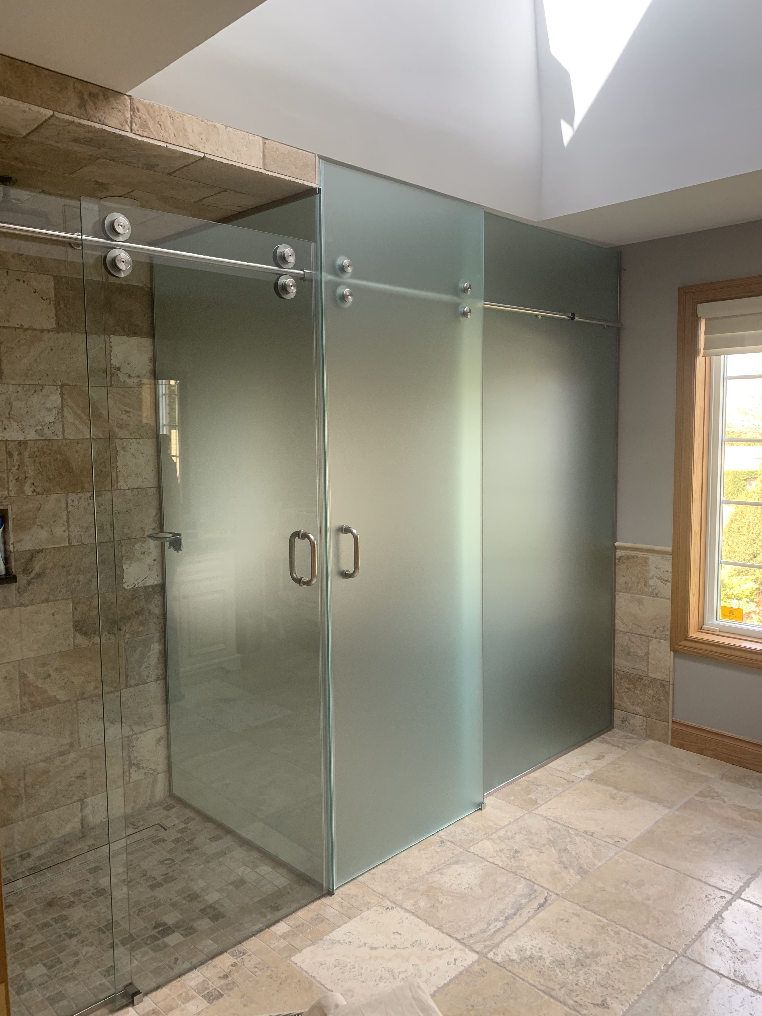 Gorgeous Clear Glass Shower And Frosted Glass Water Closet Both