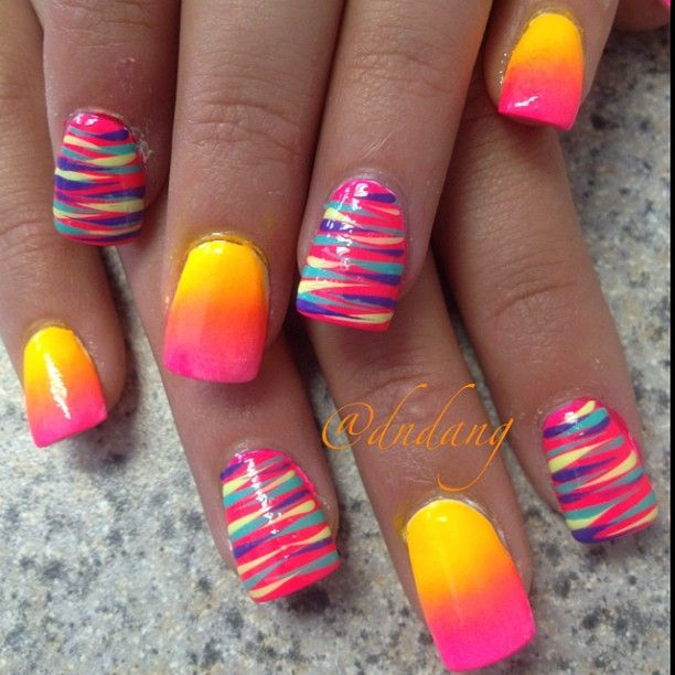 Pink and yellow neon nail art design - Pin By Diana Nidwitz On [ Diana's Nail Art, Manicure, Pedicure