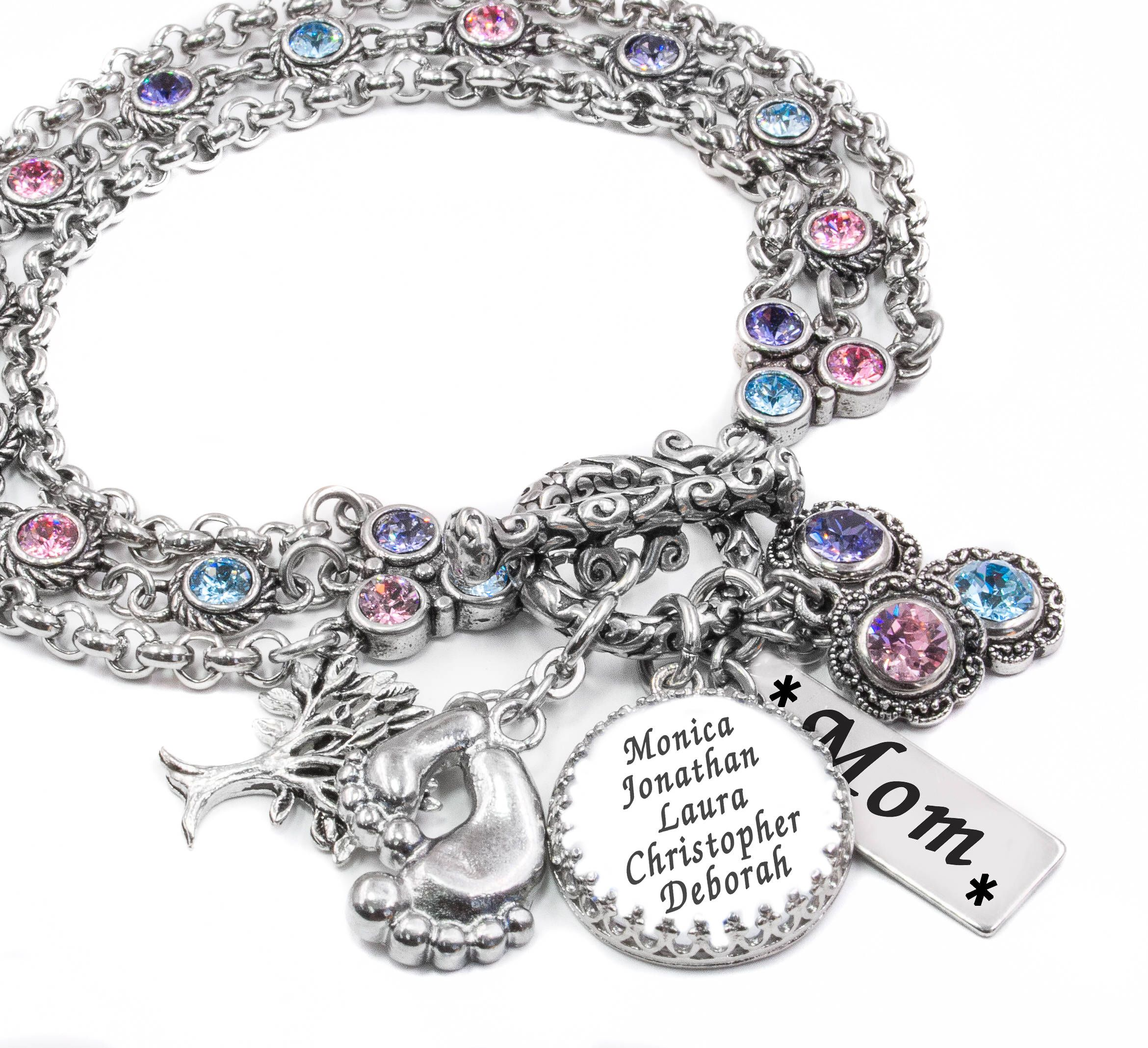 for il personalized daughter birthstone gift jewelry mother fullxfull listing mom bracelet to charm