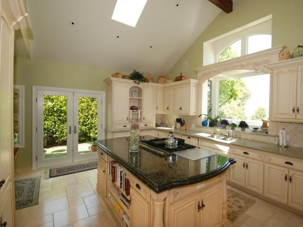 HGTV.com showcases vaulted-ceiling kitchen in a crisp-white color palette.