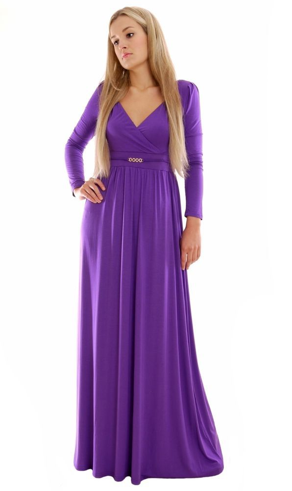 Details about Long Lavender MontyQ Dress Long Sleeve Formal ...