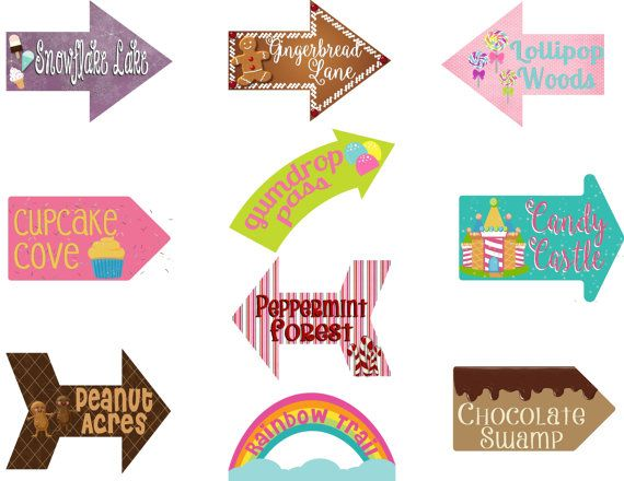 Candy Party Candy Signs Arrows Candy Party Decoration