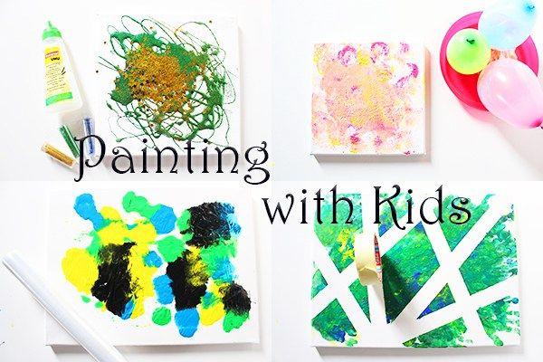 4 ideen zum malen mit kindern auf leinwand video basteln pinterest stiftehalter mama und. Black Bedroom Furniture Sets. Home Design Ideas