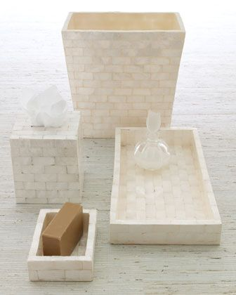 Natural capiz bath accessories neiman marcus - Capiz shell bathroom accessories ...