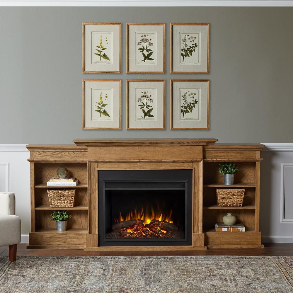 Ashton 92 In Freestanding Electric Fireplace Tv Stand In English Oak 7190e Eo The Home Depot In 2021 Fireplace Tv Stand Electric Fireplace Tv Stand Fireplace Tv