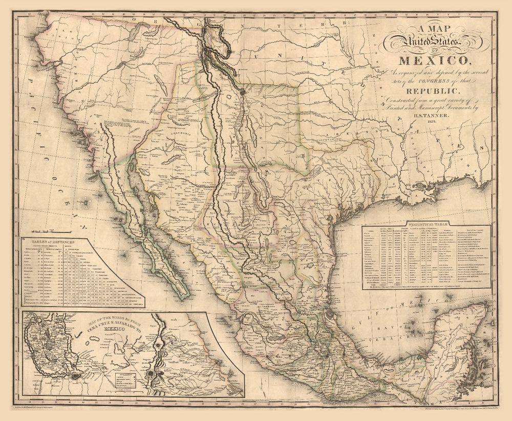 1826 map of mexico, america, california, texas, antique home decor