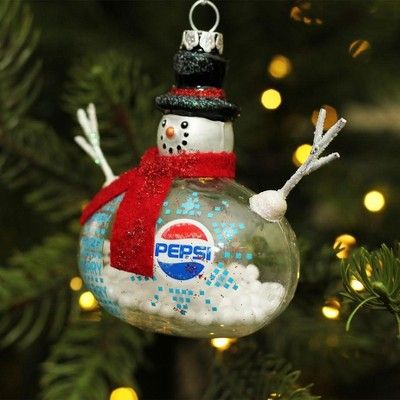 """Northlight 3.75"""" Snow Filled Glass Country Snowman Pepsi ..."""