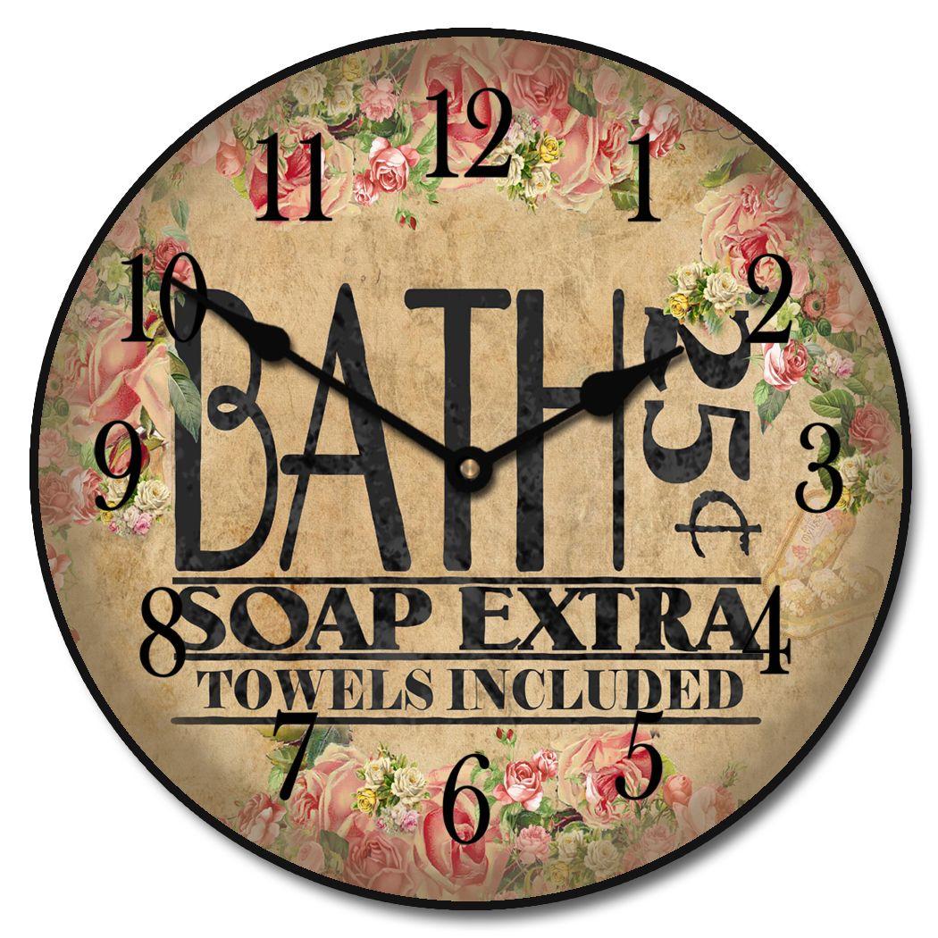 Antique Bath Clock Bathroom wall clocks, Clock, Floral clock