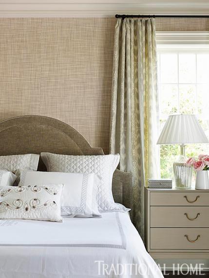 Rich grass cloth walls and soft decadent fabrics in for Rich neutral paint colors