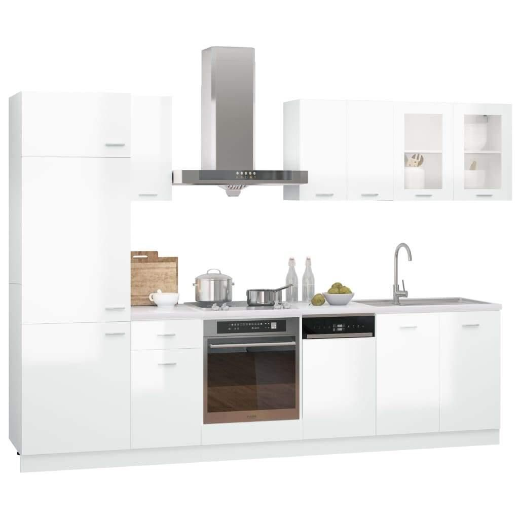 8 Piece Kitchen Cabinet Set High Gloss White Chipboard
