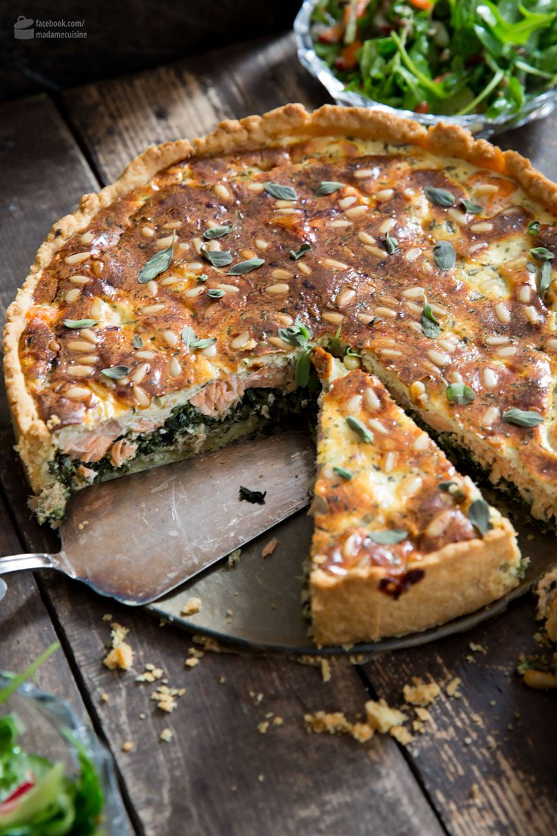 Photo of Salmon spinach cake (quiche) from the springform pan – madame cuisine
