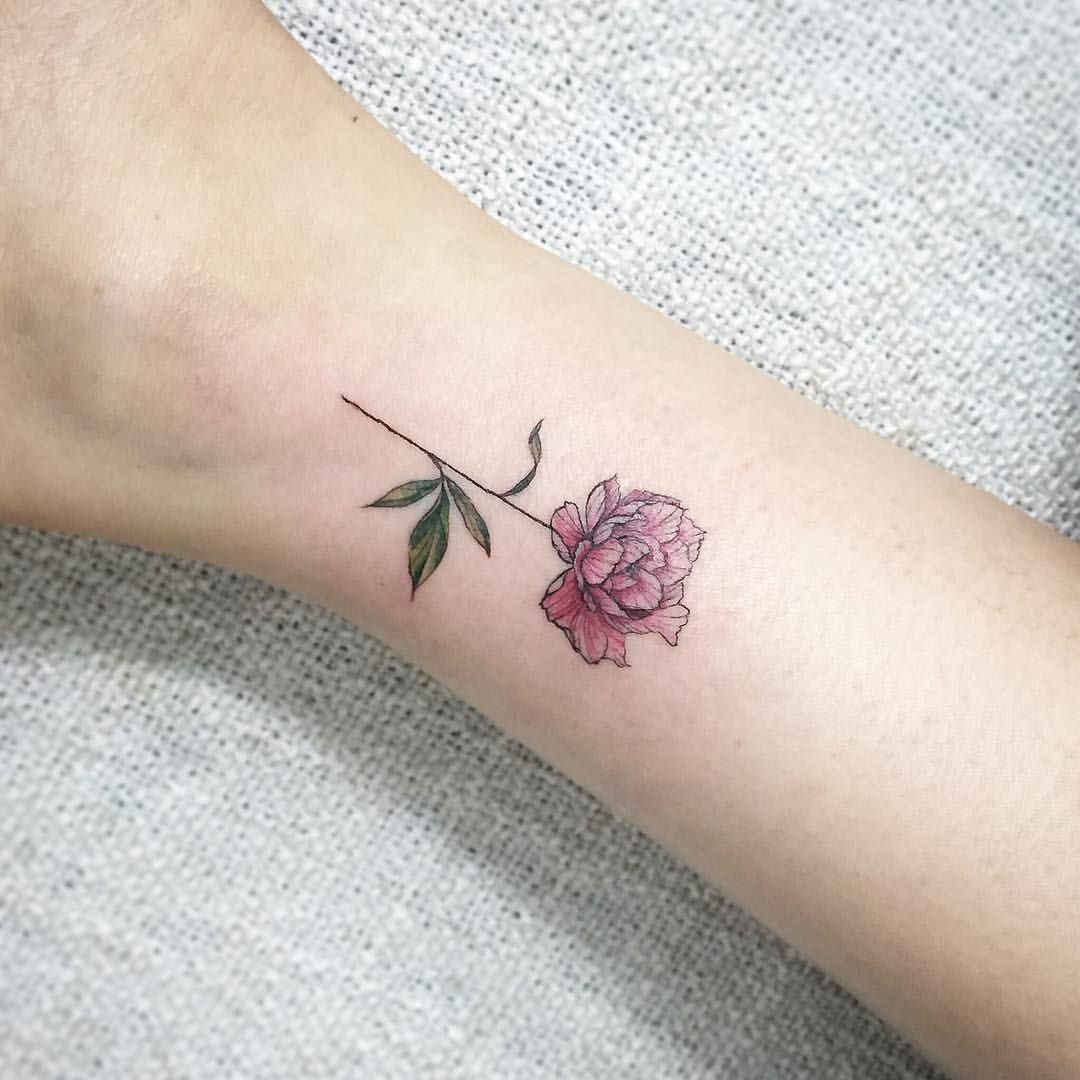 Tiny Peony Tattoo Try And Stop Me Pinte