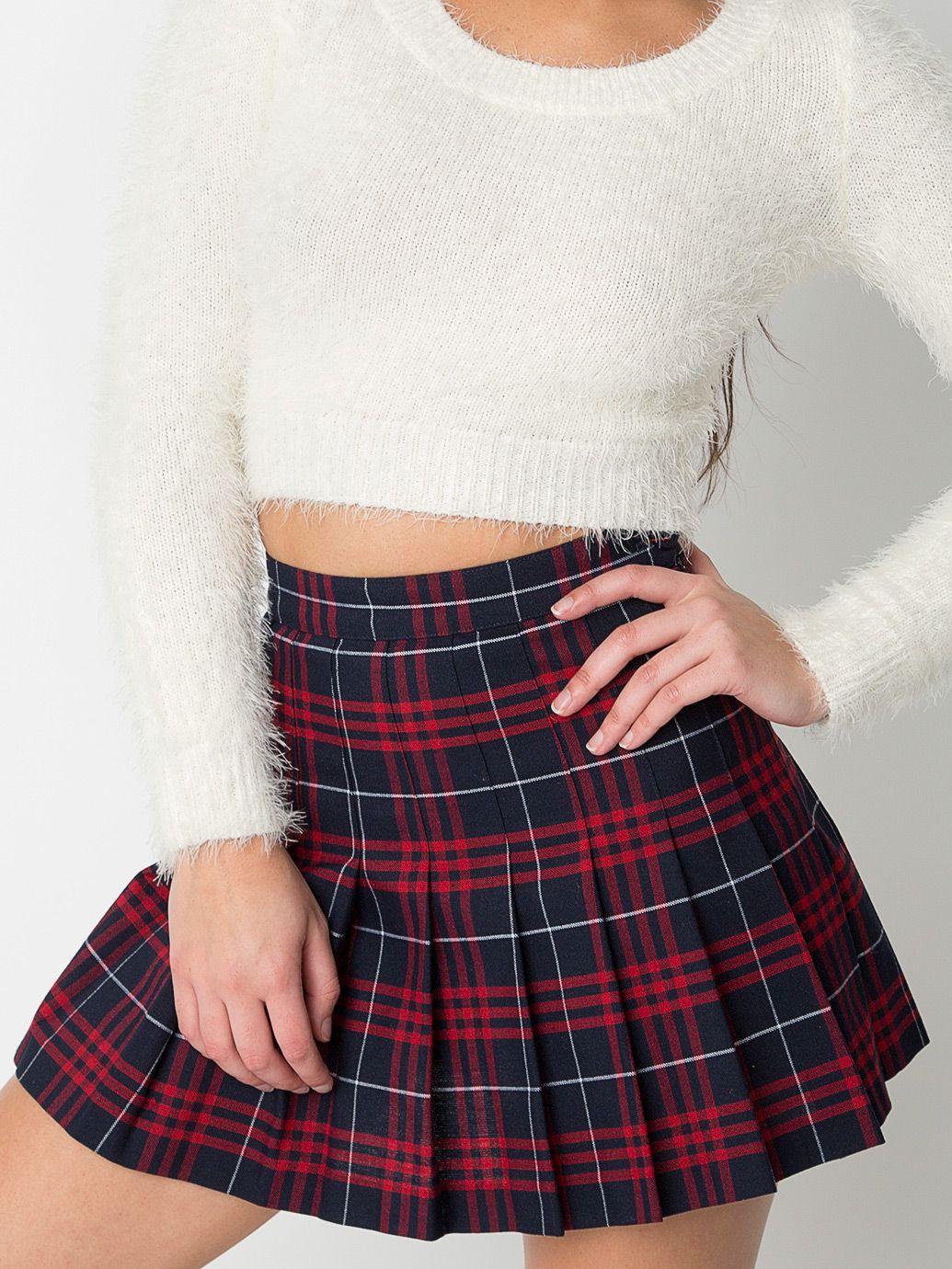 f910d95bff Plaid Tennis Skirt | American Apparel White Pleated Tennis Skirt, Plaid Mini