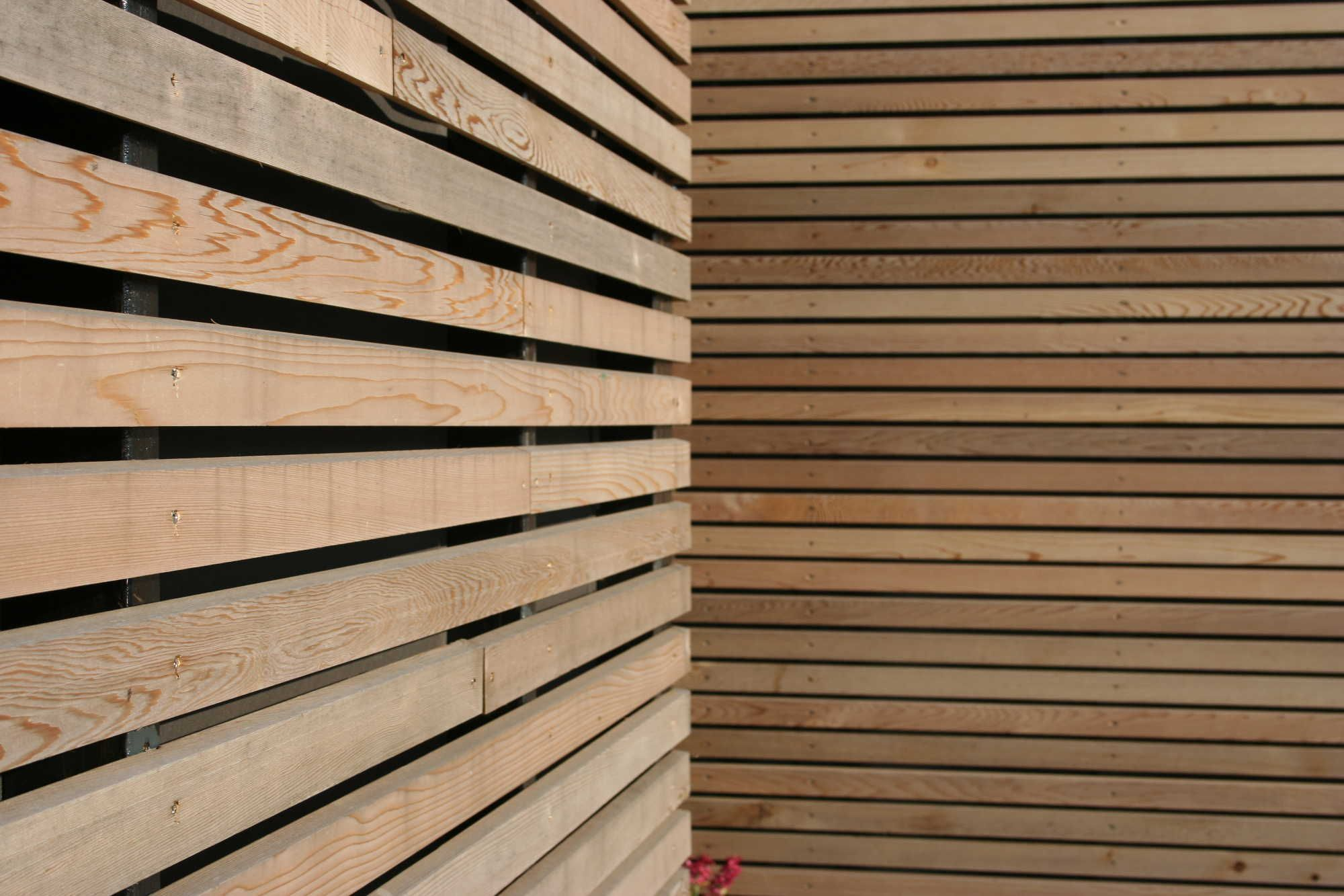 Wooden Slats House Wrapping Exterior Simple Decorating