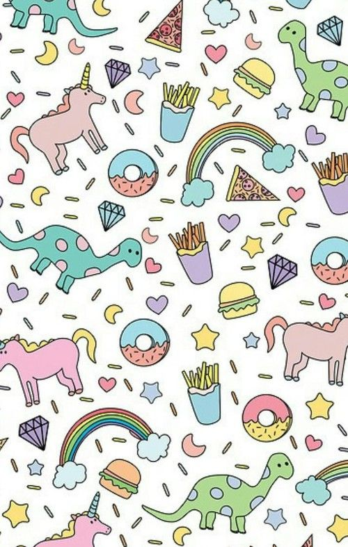 Cute Donut Unicorn Dinosaur Rainbow French Fry Iphone Wallpaper Background Girly Fun Colorful