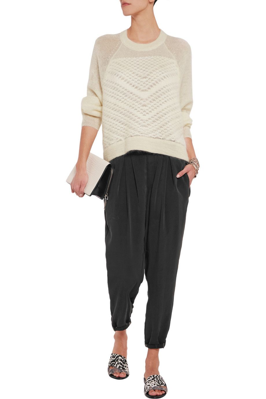 Paneled pointelle-knit sweater   Helmut Lang   US   THE OUTNET