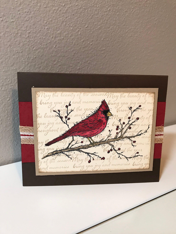 Christmas Cardinal (Bird) Handmade Stampin' Up! Card by