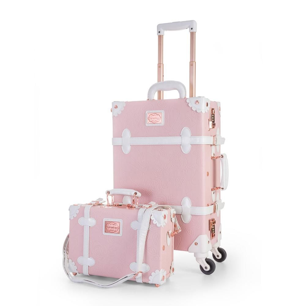 COTRUNKAGE 3 Piece Vintage Luggage Set Retro Trunk 13 20 26, Cherry Pink