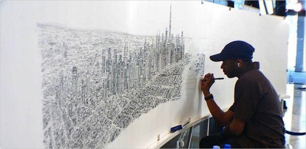 Resultado de imagem para autistic man draws city from memory