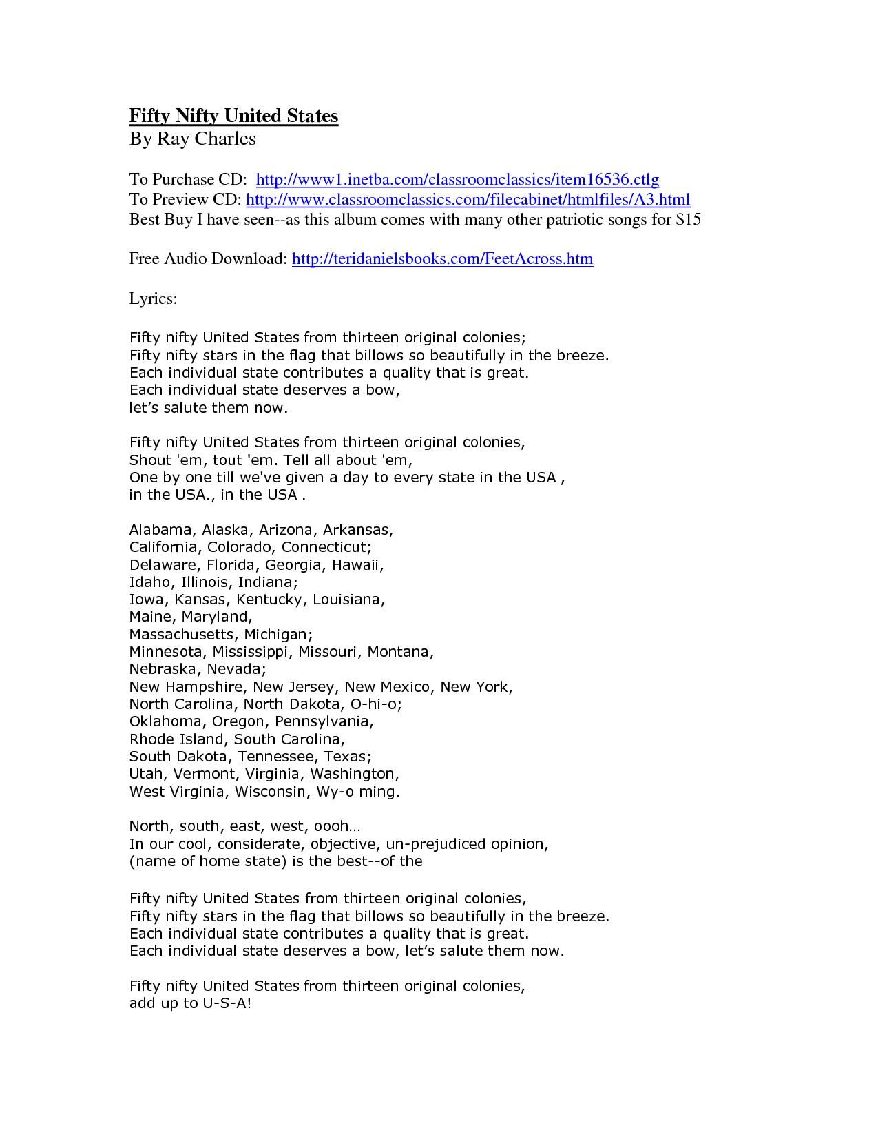 50 Nifty United States lyrics and websites CCA CK 2nd