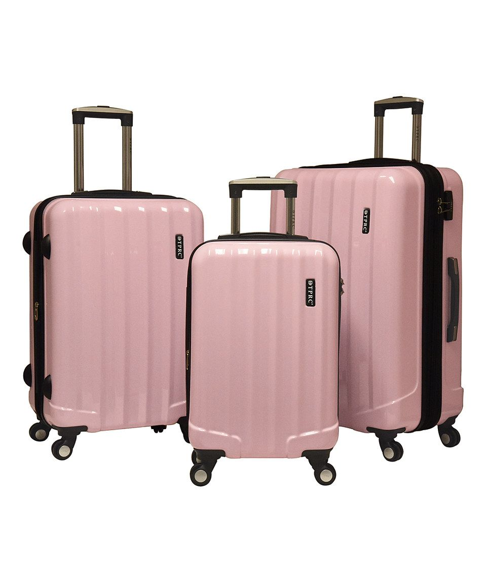 Baby Pink Three-Piece Expandable Hardside Spinner Luggage Set ...