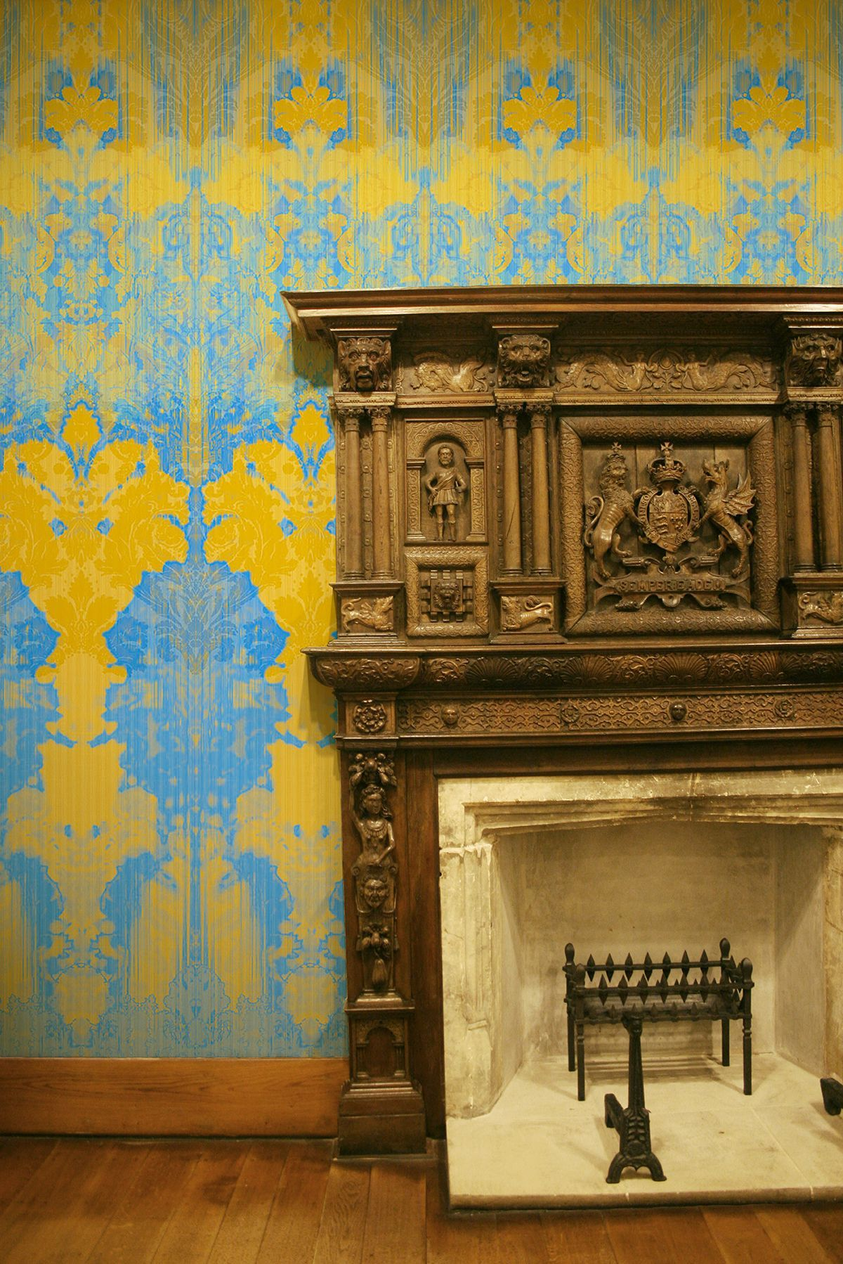 Hallway wallpaper or paint  Timorous Beasties Wallcoverings  Ikat Damask  The Whimsical World