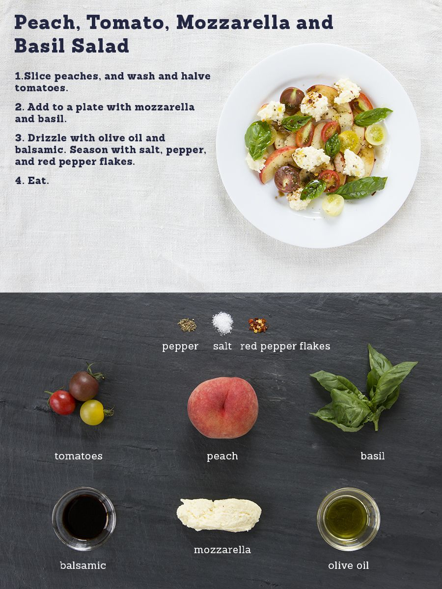 peach, tomato, mozarella, and basil salad