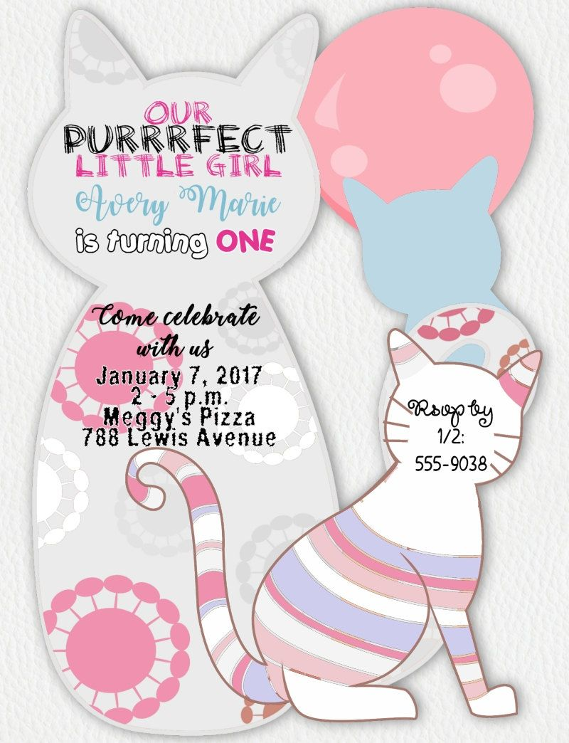 Cat Birthday Invitations Cat Invitations Kitten Invitations Cat Baby Shower Inv Cat Birthday Invitations Baby Shower Invitations Cat Baby Shower Invitations