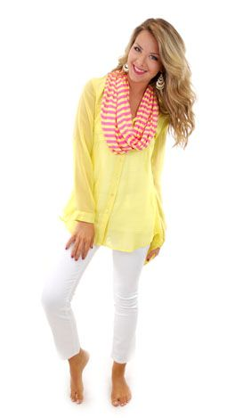 Bright blouse, white skinnies, ditch the scarf and add a necklace with a pop of color or long layered delicates