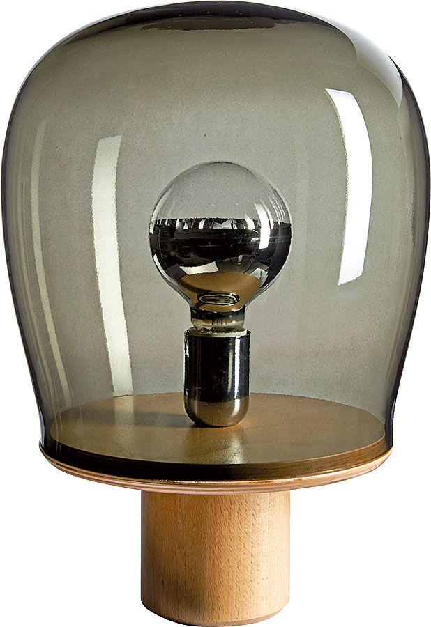Habitat, Burton - Lampe à poser en verre et chêne. Existe en mdf ...
