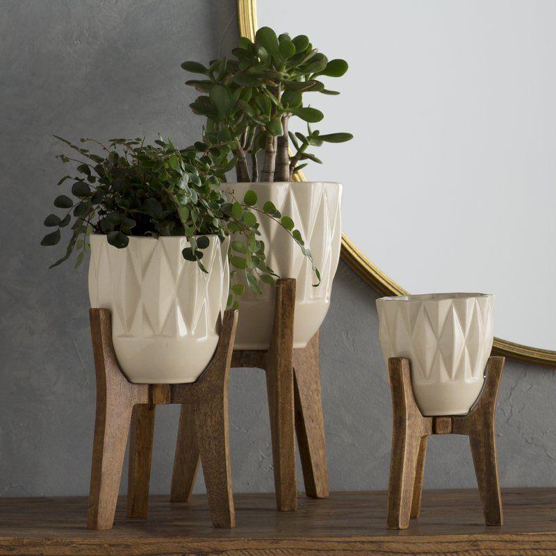 3 Piece Ceramic Table Vase Set Wood Planters Planters Ceramic Planters
