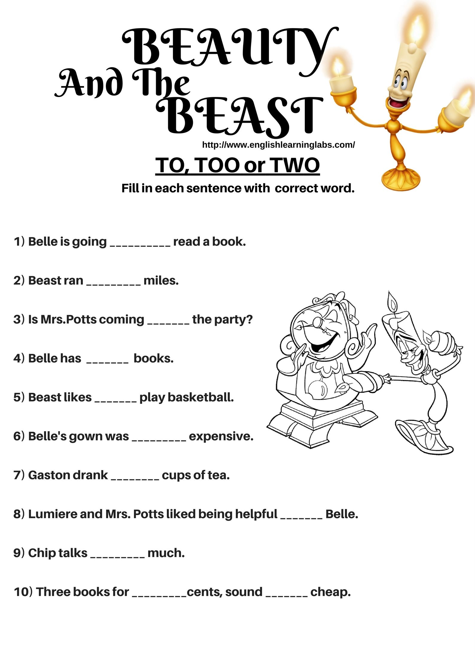 Beauty And The Beast Worksheet