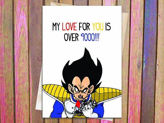 Over 9000 Dragon Ball Z Love Birthday Or Anniversary Card Vegeta Cute Lovely Gift Funny Anime