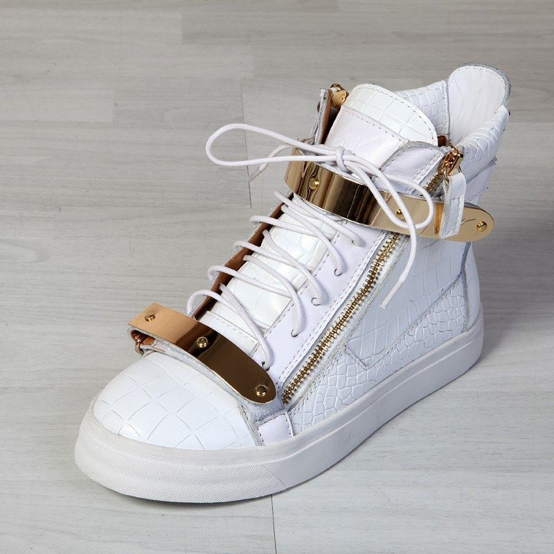 f103a0ca42050 Giuseppe Zanotti Mens Croc High Top Double Buckles Sneakers In White Model   gzmenshoes027 580 Units in Stock Manufacturer  Giuseppe Zanotti  770.00   280.00