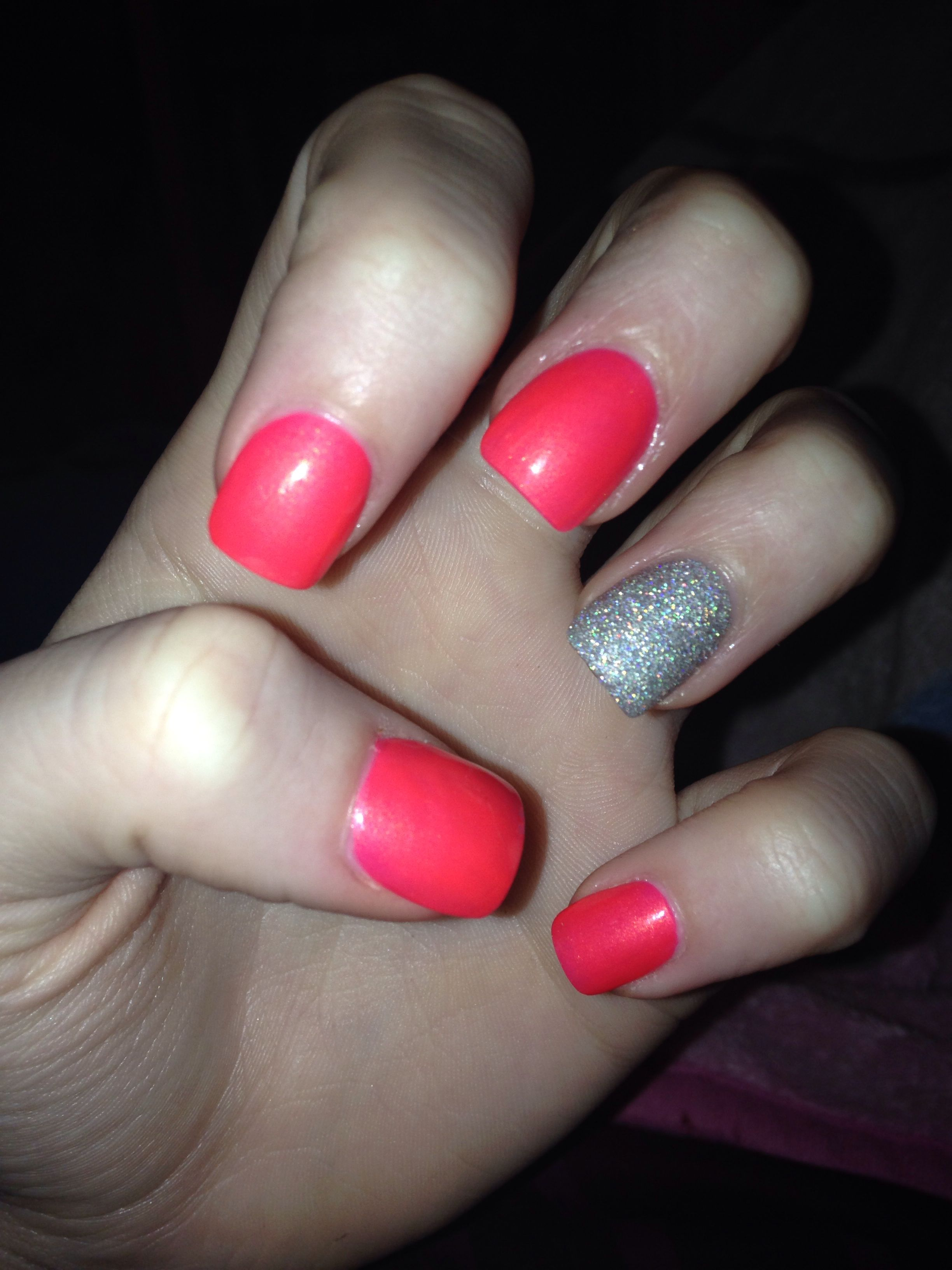 Acrylic nail design idea - showcase sparkle nail on ring finger ...