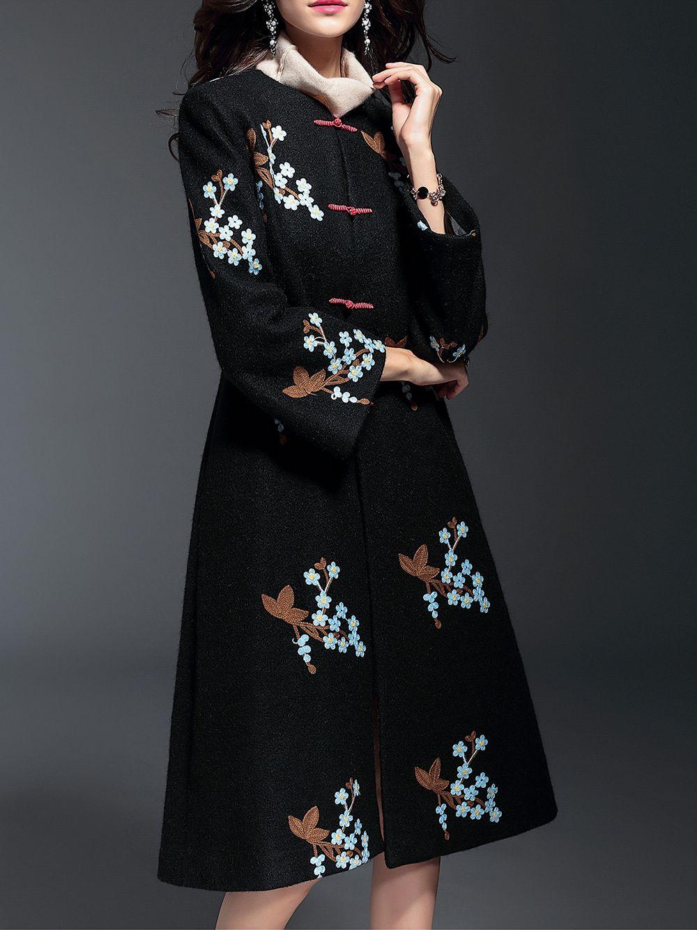 Image of black flowers embroidered long coat clothing pinterest