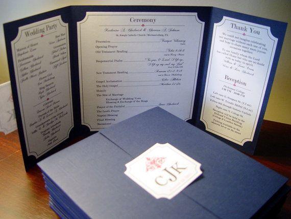 The Katherine - Custom Gate-fold Wedding Program **shown in textured