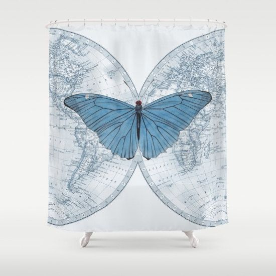 World Map Blue Butterfly Shower Curtain The By ArtfullyFeathered