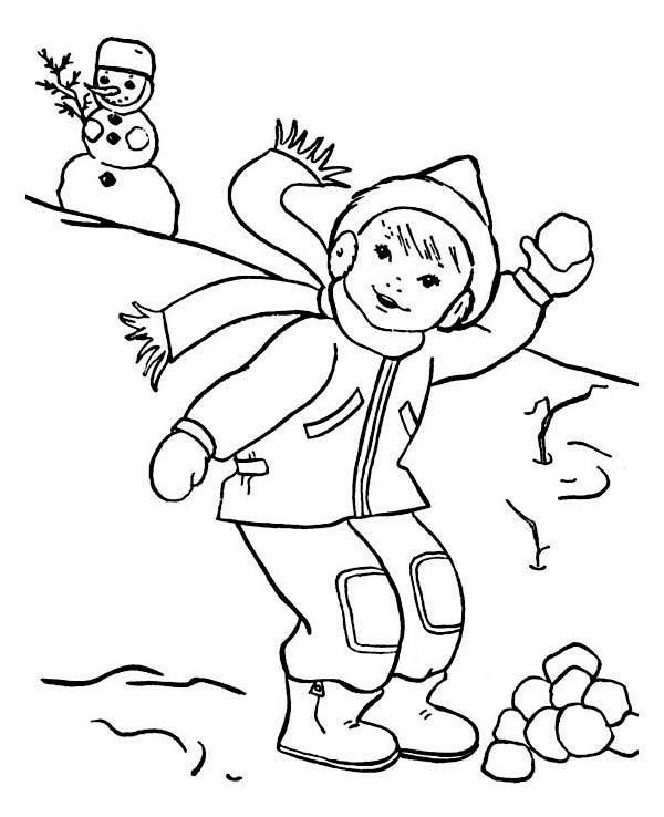 Throwing Snowball on Snowball Fight During Winter Season Coloring