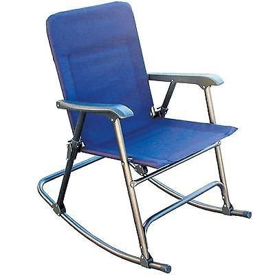 Folding Rocker Chair Camping Portable Hiking Outdoor Midnight Blue  Furniture New
