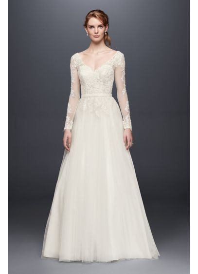 New David us Bridal Long Sleeve Wedding Dress With Low Back WG
