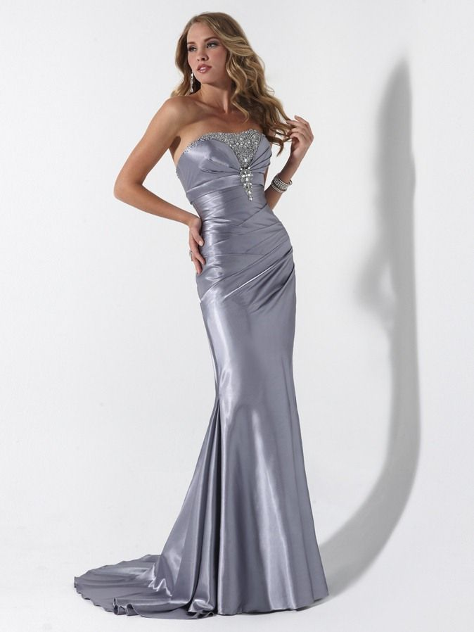 silver gowns | Silver Mermaid Strapless Bandage Sweep Train Floor ...