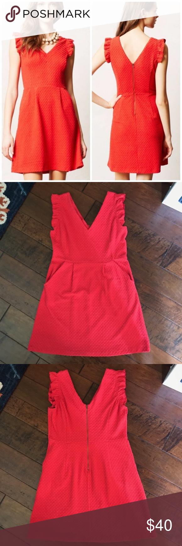 Anthropologie Tabitha Teahouse Dress Size 12 Red Clothes Design Red Colour Dress Dresses [ 1740 x 580 Pixel ]