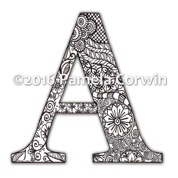 A Monogram Coloring Page | mandalas | Pinterest | Letras del ...