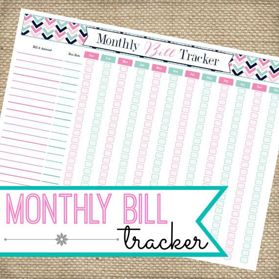 Monthly Bill Organizer Instant Download By Myloveforwordsshop