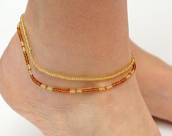 and for anklets triple aqua il strand women pjre seaside etsy anklet bronze market green her