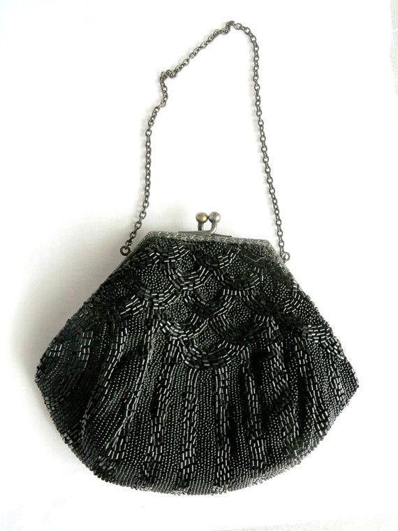 Vintage Black Beaded Evening Bag, 1940s-50s Handbag, Evening Wear, Sparkly Black Purse
