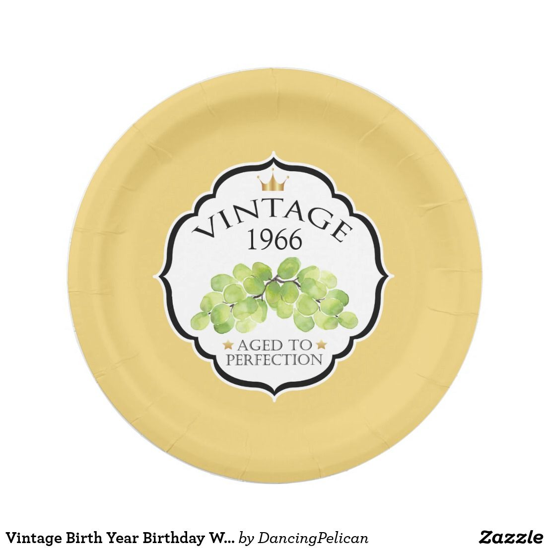 """Vintage Birth Year Birthday Wine Label Paper Plate - Create a personalized party plate with the birth year of your honoree by replacing the sample year shown with your honoree's birth year. You can also change the gold background to any other color by choosing the """"customize it"""" button and selecting a different background color. Sold at DancingPelican on Zazzle."""